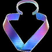 Sculptural Anodized Rainbow Titanium Necklace and Cuff Bracelet – 1980s