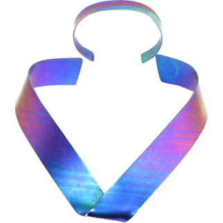 Sculptural Anodized Rainbow Titanium Necklace and Cuff Bracelet – 1980s