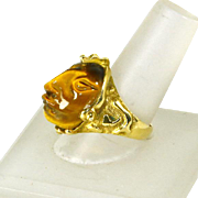 14k Yellow Gold Tiger's Eye Ring – Carved Tribal Face