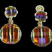 Laguna Earrings –Swarovski 'Potato Chip' Pagoda Crystal Drops – 1950s