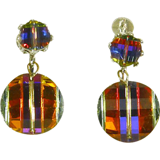 Laguna Earrings –Swarovski 'Potato Chip' Pagoda Crystal Drops – 1950s