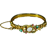 Victorian Revival style hinged Bangle Bracelet – faux Turquoise, Pearl, Moonstone
