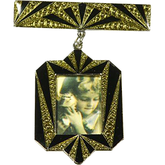 Pierre Bex Photo Frame Pin – Art Deco style – French – 1970s