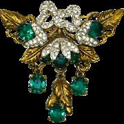 Art Deco era 1930s Gilt and Emerald Rhinestone Brooch – Designer Quality