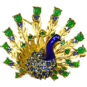 Marcel Boucher Peacock Pin – Enamel and Rhinestones – Signed -Book Piece