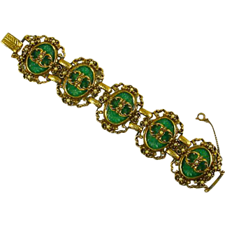 Judy Lee signed Victorian Revival style Bracelet – Molded Peking Glass and faux Pearls – Book Piece