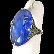 Edwardian Art Nouveau Sterling Silver Filigree Ring – Blue Glass