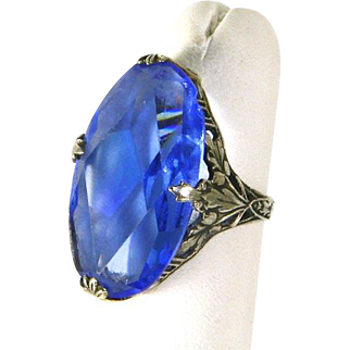 Edwardian Art Nouveau Sterling Silver Filigree Ring – Blue Glass