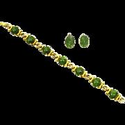 Krementz Jade and Gold Filled Bracelet and Earrings