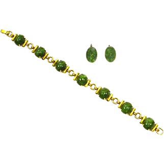 Krementz Jade and Gold Filled Bracelet and Earrings