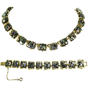 Coro Black Confetti Lucite Necklace And Bracelet – late 1950s
