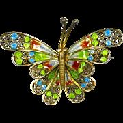 Italian 800 Silver Plique a Jour Enamel Butterfly Pin