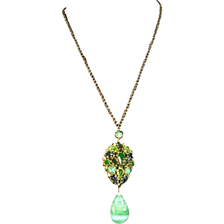 Schreiner unsigned faux Jade and Rhinestone Pendant – Magnificent