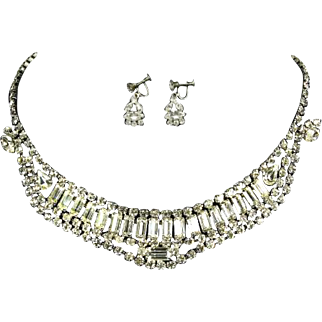 Weiss unsigned Baguette Rhinestone Necklace and Earrings