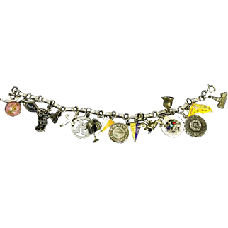 Fantastic 1950s/60s Loaded Sterling Silver Charm Bracelet – 17 Charms – Florida Themed