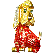 Crown Trifari signed Dog – Bassett Hound –Pave Rhinestones – Red Enamel