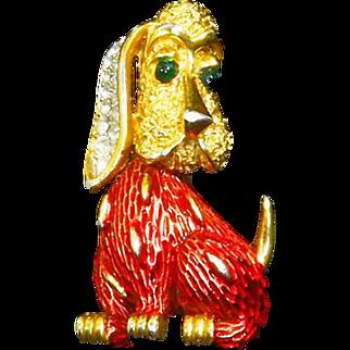 Crown Trifari signed Dog – Bassett Hound –Pave Rhinestones – Red Enamel