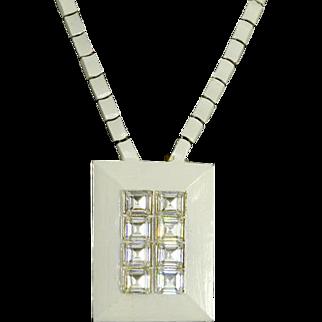 Eisenberg signed Enamel and Rhinestone Necklace/Pendant – Modernist – 1970s