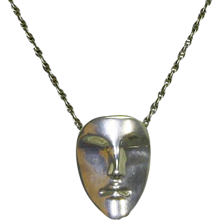 Sterling Silver Mask Pendant Necklace – Modernist