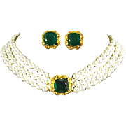 Florenza Triple Strand Graduated faux Pearl Necklace and Earrings – Fantastic Emerald Green Rhinestone Clasp and Earrings