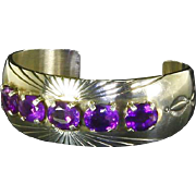 Native American Navajo signed Cuff Bracelet – Amethyst and Sterling Silver – Mark Yazzie