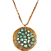 Vintage Bell Trading Post Copper and Turquoise Corinthian Line Pendant/Necklace – Native American Made
