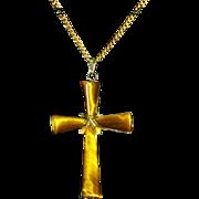 Vintage Tiger's Eye Gold Vermeil Cross Pendant/Necklace – 14 K Gold Filled Chain