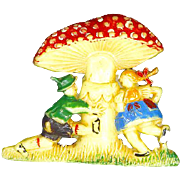 Celluloid Figural Pin – Children under Mushroom – Made In Japan