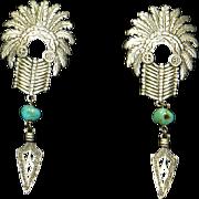 Rare JJ Jonette Jewelry Indian/Native American Feather Headdress Earrings – Silver Tone – Pierced