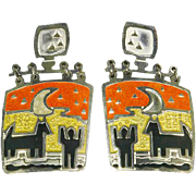 Edgar Berebi Enamel Articulated Pierced Earrings – Whimsical Human/Dog – 1980s