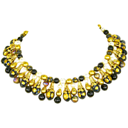 Egyptian Revival Bib/Collar Necklace – faux Pearl & Bead Gold Tone – 1960s