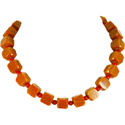 Art Deco Cubed Bakelite Necklace – Red and Toffee – 1930s/40s