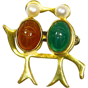 Kissing Lovebirds Pin – W. E. Richards Co. – 12 K Gold Filled-Scarab Gem Jelly Belly Stones