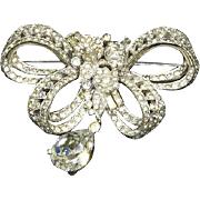 Mazer signed Pave Rhinestone Bowknot Pin with Teardrop – late 1940s/early 1950s