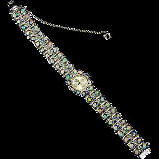 Swiss Incabloc Manual Wind Watch – Fantastic Australian Opal Sterling Silver Band – Works