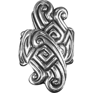 Mexico Sterling Art Deco Bypass Clamper Bracelet – Repoussé – pre-1948 –64.6g