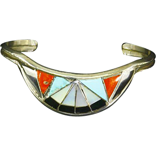 Native American Zuni signed Sterling Silver Cuff Bracelet – Inlay – Coral, Turquoise, Onyx, Mother-Of-Pearl