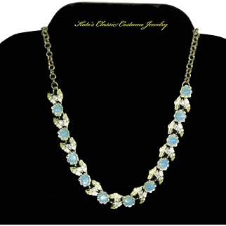Judy Lee signed faux Blue Moonstone and Hand-Painted Leaf Necklace – Book Piece