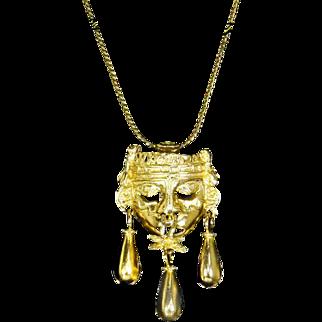 Salvador Teran Pendant/Pin – Aztec Warrior Mask –Marbel