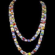 Art Deco Rainbow Iris Glass Bead Necklace – 1920s – Flapper Style – Czechoslovakian