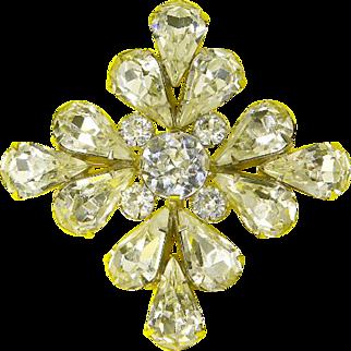 Eisenberg Signed Crystal Maltese Cross Pin – late 1940s/1950s