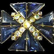Delizza and Elster Juliana Triangle Rhinestones and Aurora Borealis Chaton Maltese Cross Pin/Pendant – Book Piece