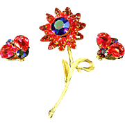 Weiss unsigned Red Aurora Borealis Polychromatic Swarovski Flower Pin and Bug Earrings