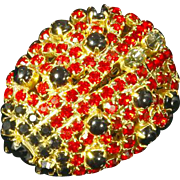 Ladybug Figural Pin – Rhinestone Encrusted – Designer Quality