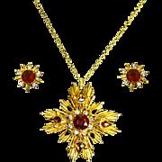 Florenza Maltese Cross Pendant and Matching Earrings – 1960s
