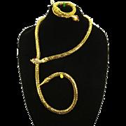 Snake Gold Mesh Necklace/Belt and Bracelet Set – 1970s