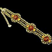 Schiaparelli signed Bracelet – Art Glass Confetti Stones – 1949 – 1955
