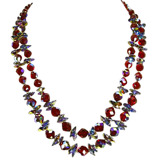 Vendome signed Necklace –'Cut Glass' Siam Red – 1962 – Book Piece