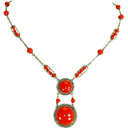 Machine Age Art Deco Necklace – Tomato Red – Jakob Bengel Style