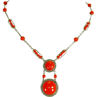 Machine Age Art Deco Necklace – Tomato Red – Jakob Bengel Style